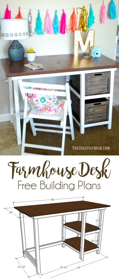 Farmhouse Desk Free Building Plans This Is A Fun And Easy Build Diy Furniture Furniture Projects Diy Computer Desk