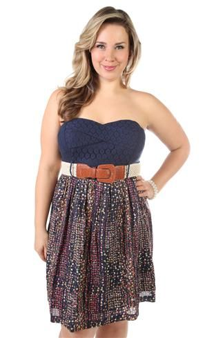 plus size strapless floral lace patchwork pattern casual dress DEB