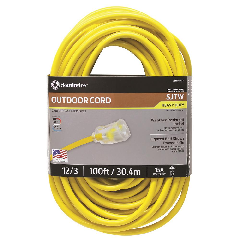 Southwire 100 Ft 12 3 Sjtw Hi Visibility Outdoor Heavy Duty Extension Cord With Power Light Plug Yellow Extension Cord Cord Outdoor Extension Cord