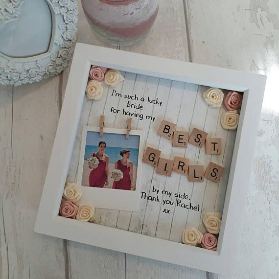 Bridesmaid Gift Present For Maid Of Honour Bridesmaids Flower Scrabble Frame
