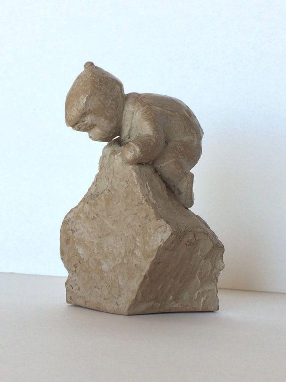 For James & Tori ? Vintage Haeger Pottery Sculpture Little Boy Snow Climbing Rock Martha Strubel Haeger Figurine Colletible Mid-Century Sculpture Nursery Child