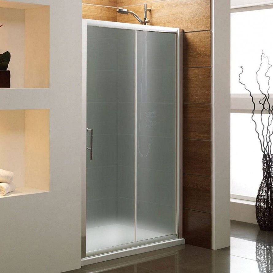 Frosted Shower Doors bathroom photo: frosted modern glass shower sliding door