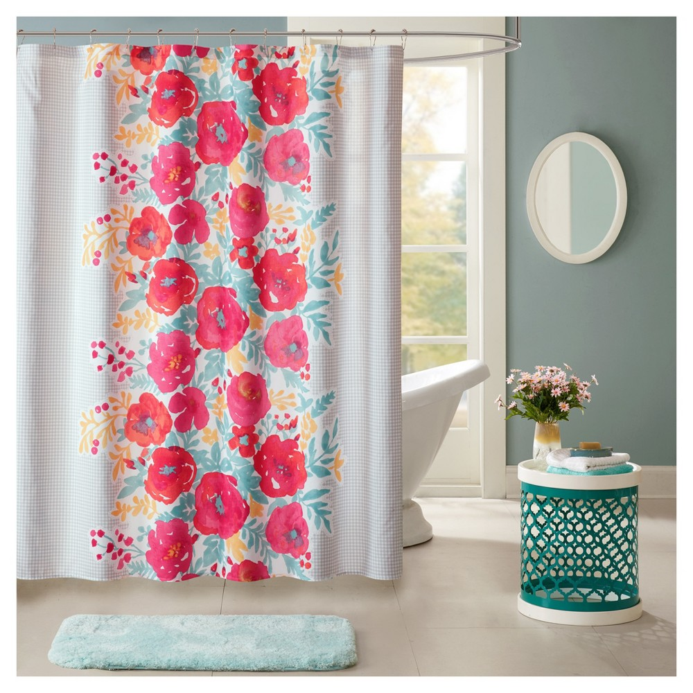 Suri Microfiber Printed Shower Curtain Coral Pink 72x720