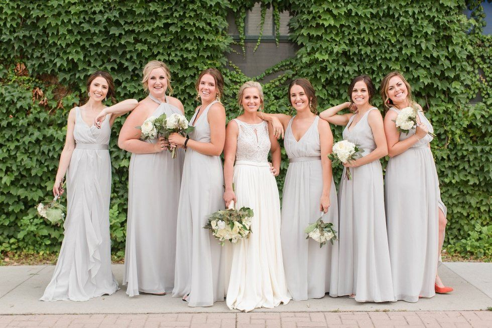 David S Bridal Bridesmaids In Neutral White By Vera Bridesmaid Dresses Available At Emily Koska Photography