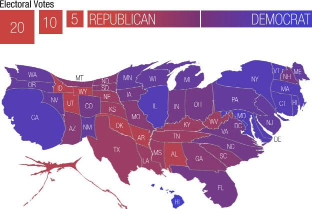 A Campaign Map Morphed By Money Infographics - Us electoral map calculator