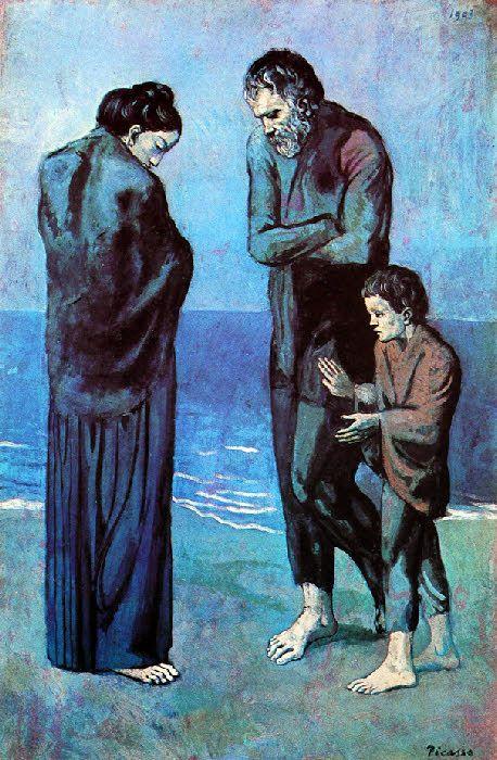 Des pauvres au bord de la mer 1903 pablo picasso pinterest les parties du corps bord de - La chambre bleue picasso ...
