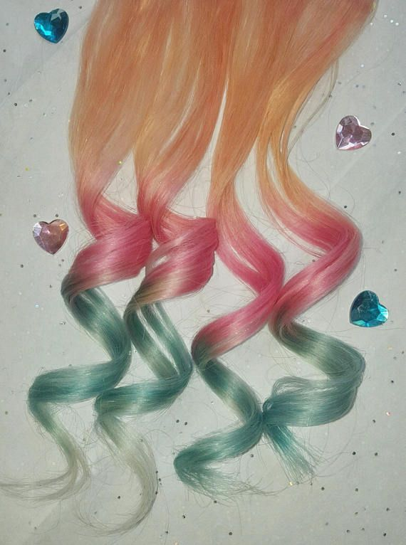 Clip In Pastel Hair Extensions Pink Hair Mint Hair Rainbow Real