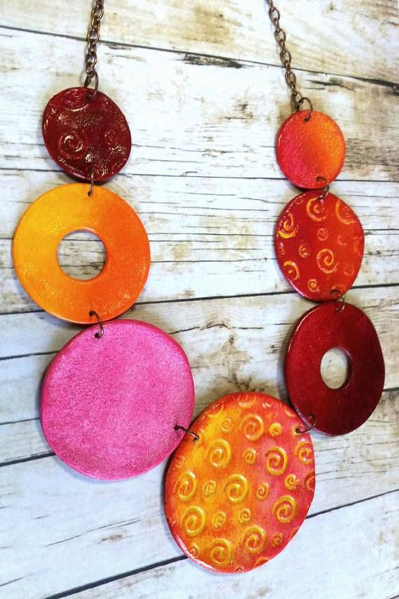 cac0c77f6 Polymer clay necklace,Handmade necklace,Colorful clay necklace ...