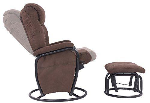 Merax Home Furniture Ergonomic Suede Fabric Swivel Glider Recliner Rocking Chair And Ottoman Set Gli Chair And Ottoman Set Glider Rocker Swivel Glider Recliner Rocker glider recliner with ottoman