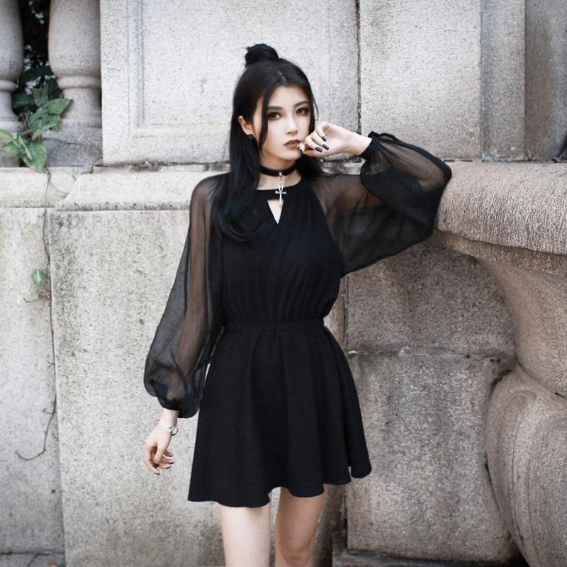 'Nightmare' Black mesh dress