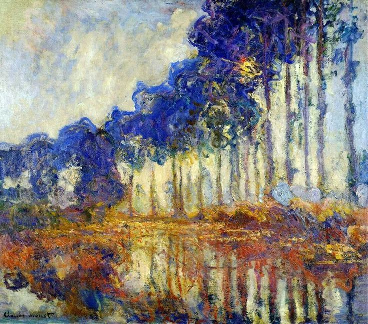 Claude monet row of poplars monet 39 s gardens pinterest for Claude monet impressionist paintings