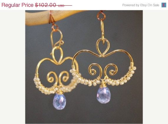 SALE Nouveau 134 Hammered swirls with ivory pearls and topaz