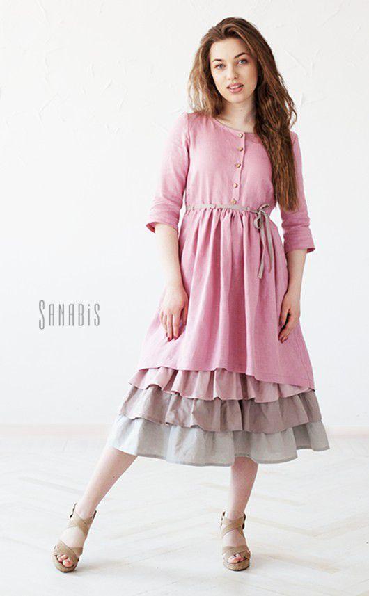 0266777ffe8 Платья ручной работы. Заказать Многослойное платье из льна «Пыльно-розовое».  Ксения Берестовая (sanabis). Ярмарка Мастеров. Пыльно-розовый