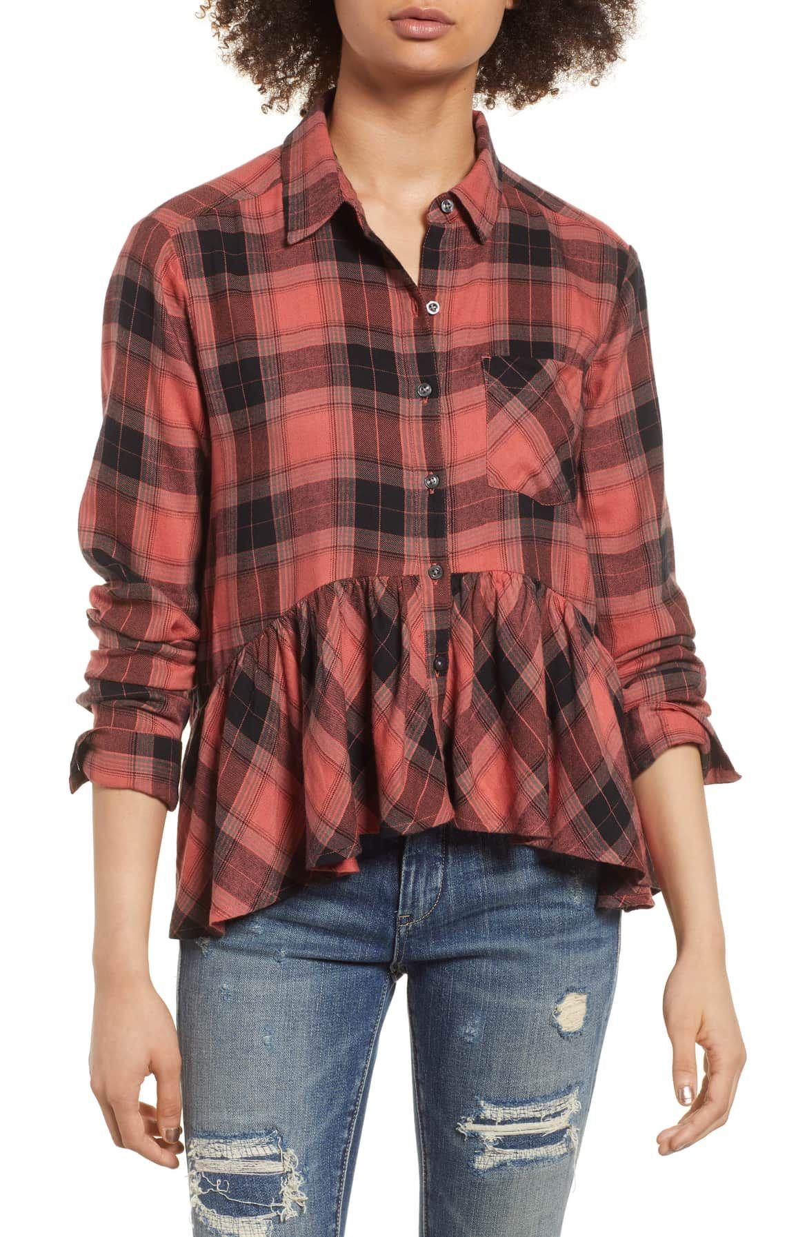 23ab42b0a89 BP Plaid Peplum Shirt