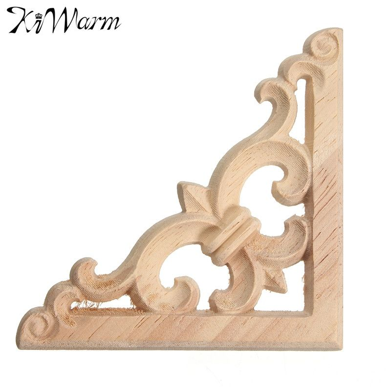 Vintage Wood Mouldings Carved Decal Corner Onlay Applique Furniture Wall Craft