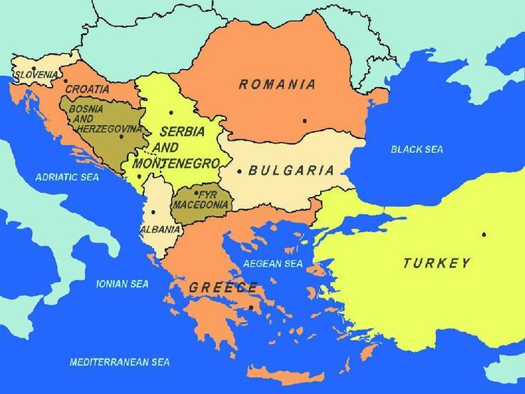 Map of southeastern Europe, including area to the east of Bulgaria
