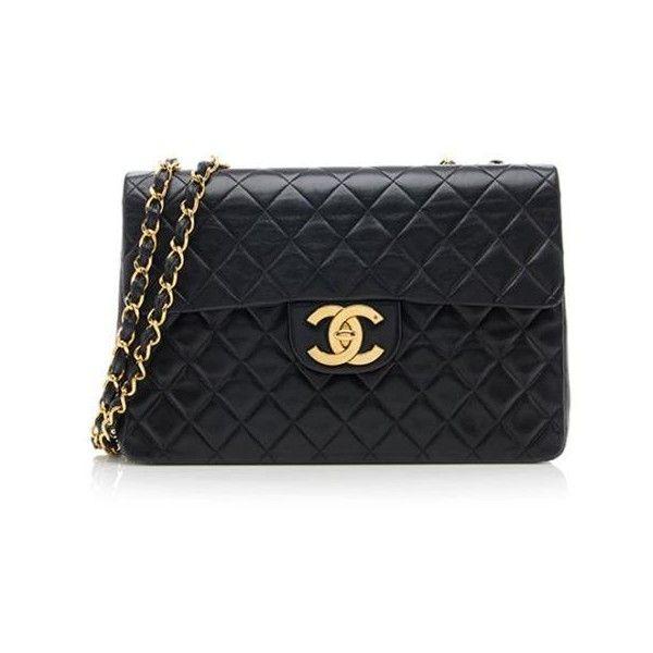 Rental Chanel Vintage Lambskin XL Jumbo Flap Bag (£290) ❤ liked on Polyvore