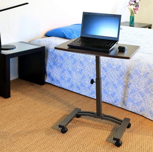 High Quality Rolling Laptop Desk Cart Table Stand Portable Home Office Mobile Adjustable  #SevilleClassics