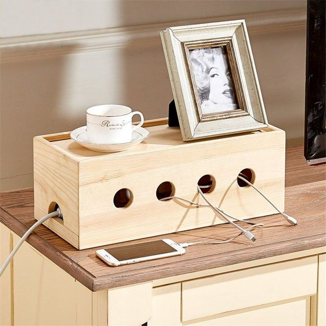 Wood Cable Organizer Box   home decore  Cable