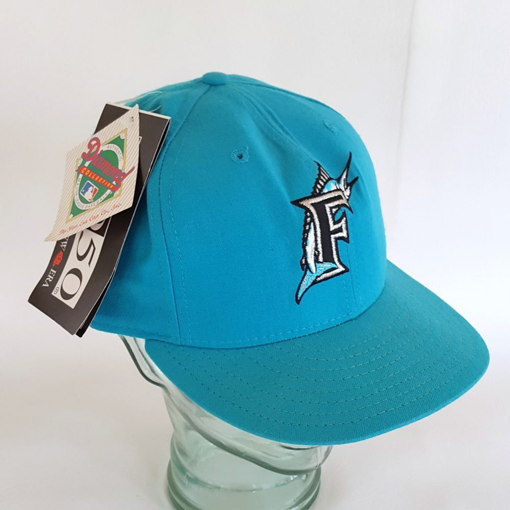 e9a02a842468ea NOS Vintage 90s Florida Marlins Hat Miami Baseball Cap FITTED 7 5/8 New Era  WOOL #NewEra595059Fifty #BaseballCap #FloridaMarlins