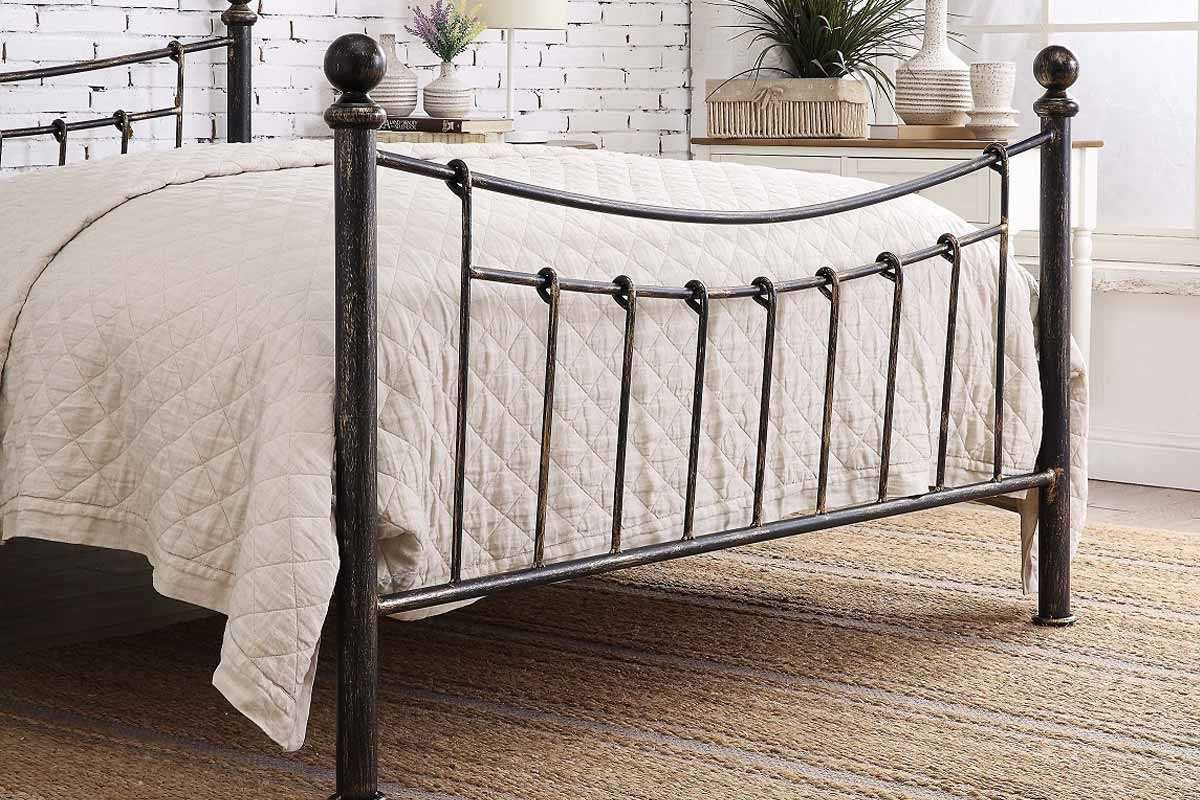 Ascot Copper Metal Traditional Bed Frame Double King Size King Size Metal Bed Frame Bed Frame Traditional Bed Frames
