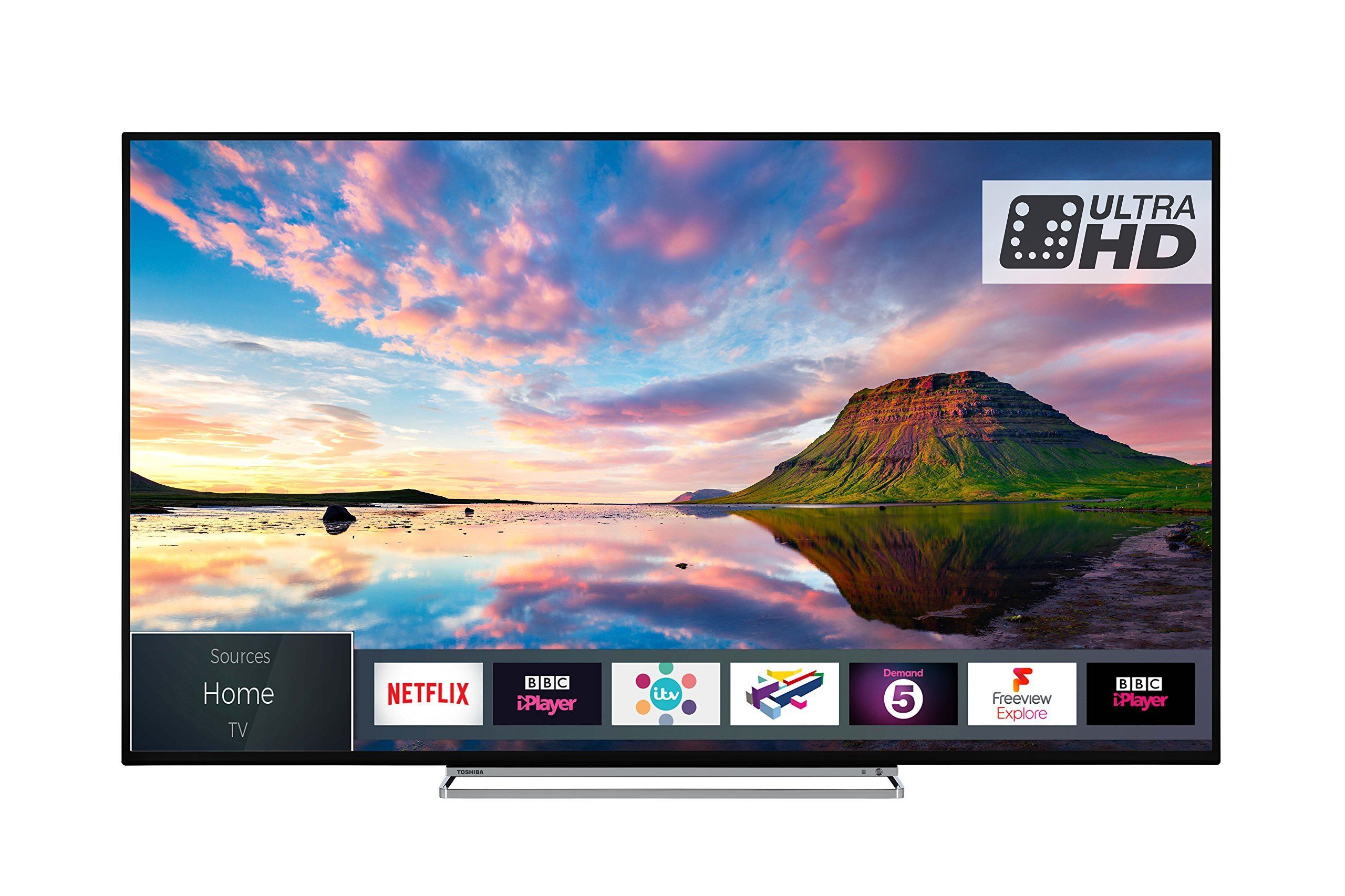 Toshiba 43u5863db 43 Inch Smart 4k Ultra Hd Hdr Led Tv With Freeview Play Black Silver Live And Breathe The On Screen Action Wi Smart Tv Led Tv Tv Display