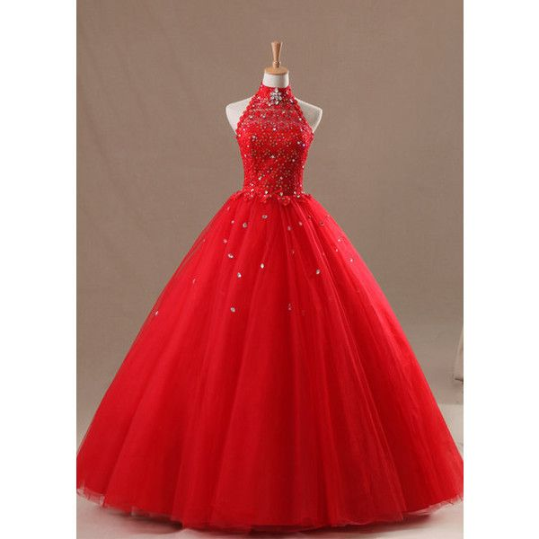 red corset lace halter long quinceanera dress, prom dress, ball gown ...