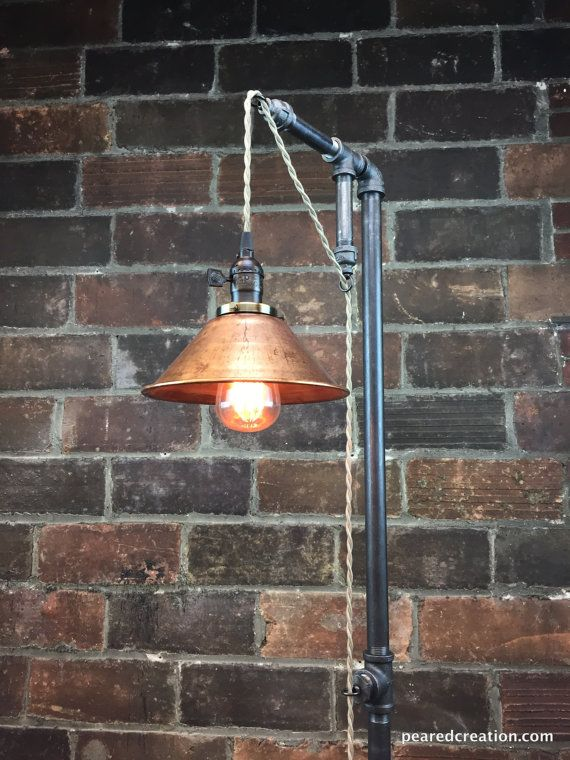Industrial Floor Lamp   Copper Shade   Edison Bulb   Industrial Furniture    Steampunk   Barn