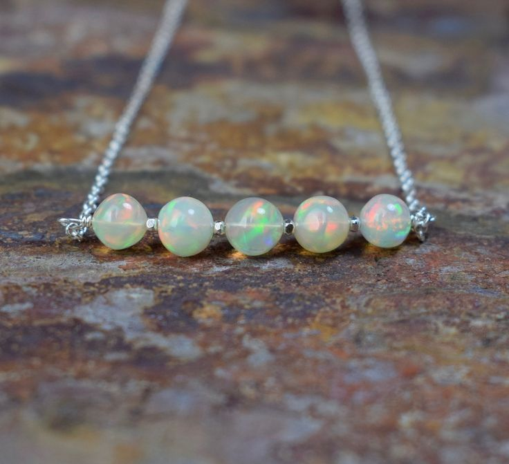 Ethiopian opal sterling silver gemstone necklace