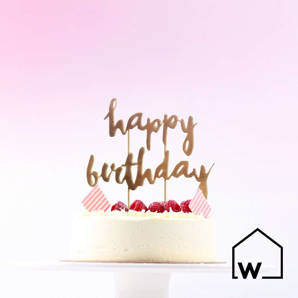 HAPPY BIRTHDAY Gold Mirrored Acrylic Cake Topper Birthday Kids