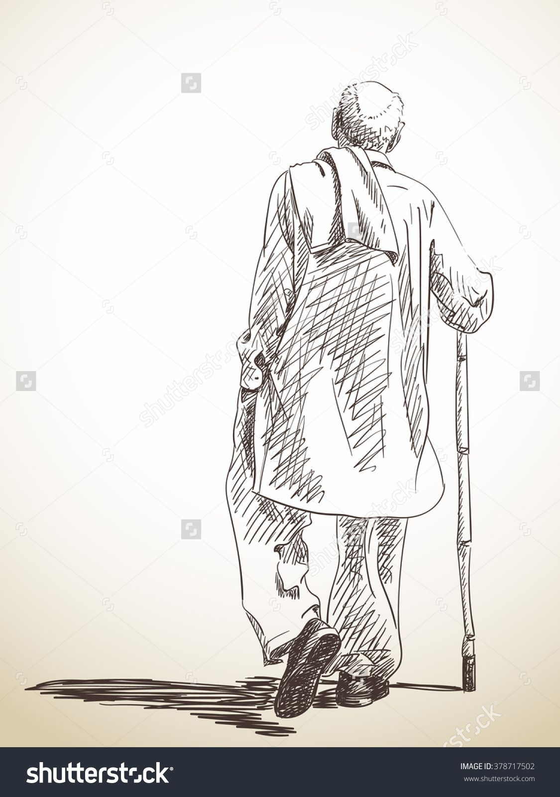 Pencil Drawing Of A Man Walking