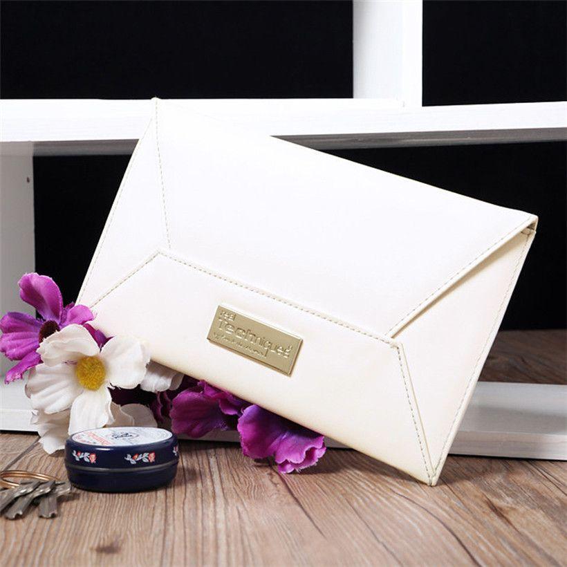 Wholesale Designer White Leatherette Envelope Clutch Handbag Purse IT Bag