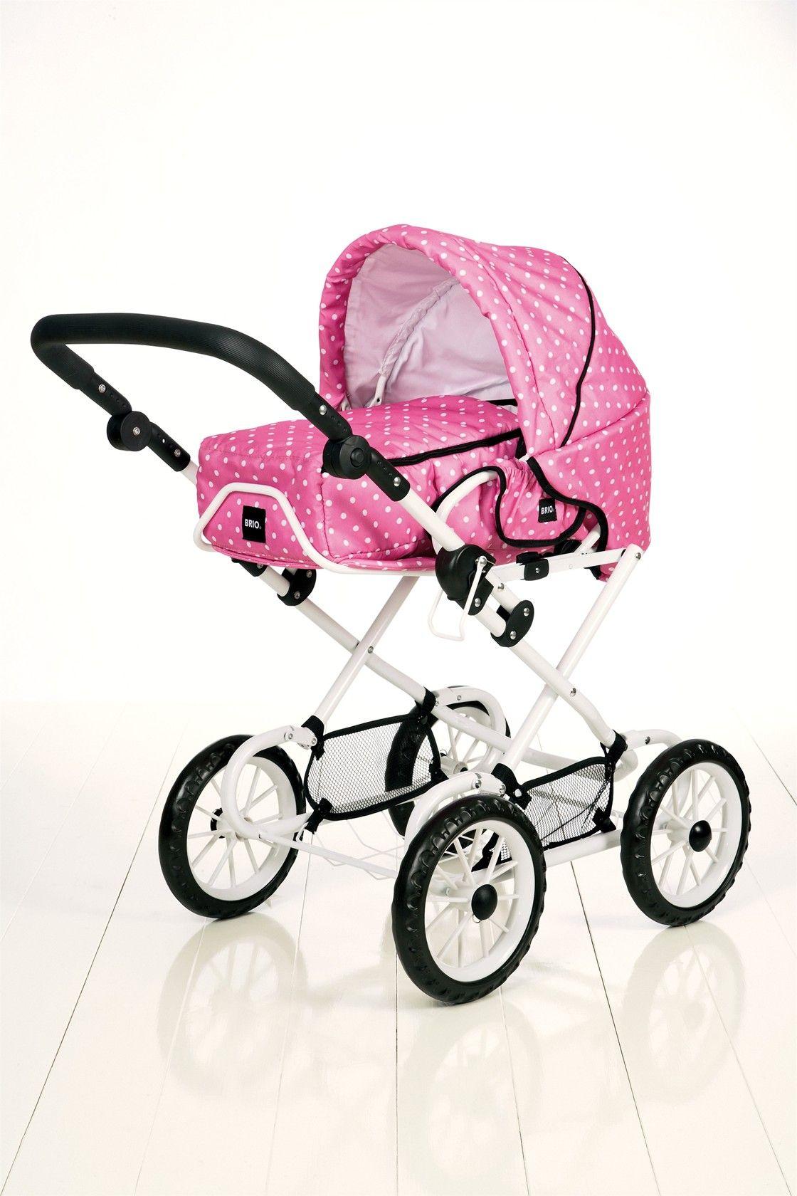 Brio Childrens Pink Polka Dot Dolls Pram & Pushchair ok