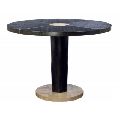 Quintus Dan Dining Table 48 Dia X 30 H Oak Stainless And