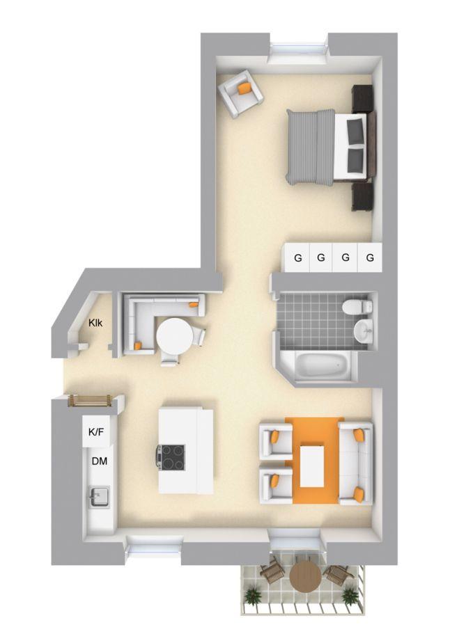Plano apartamento 59 mts pisos y loft planos casas una for Planos apartamentos pequenos