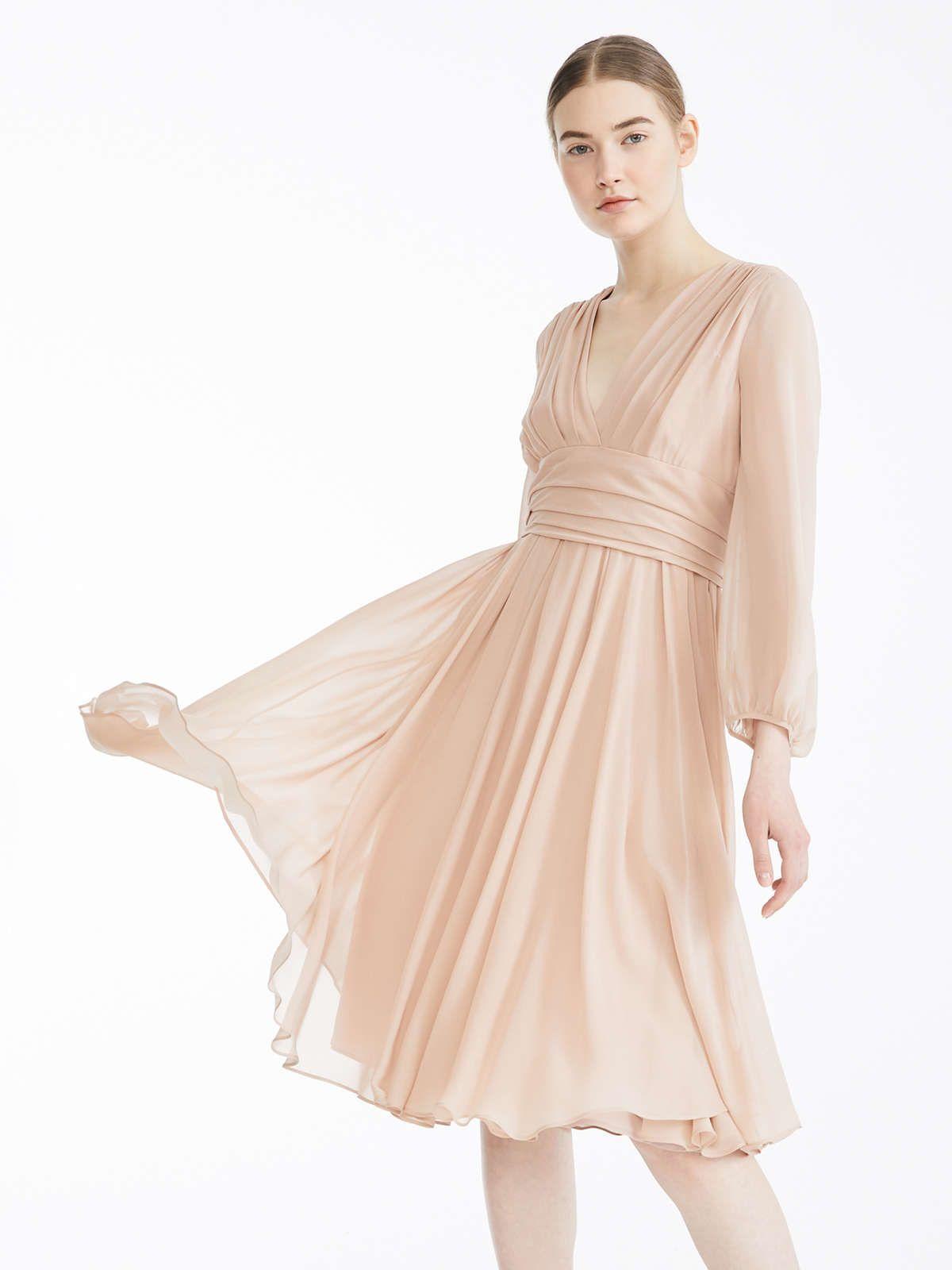Robe En Georgette De Soie Poudre Campos Max Mara Silk Georgette Dress Georgette Dress Dresses