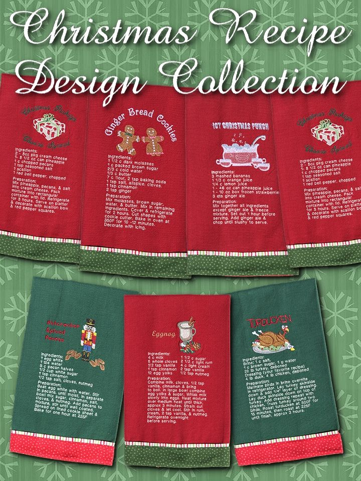 HOLIDAY RECIPE TOWELS DIGITAL DOWNLOAD Machine Embroidery From Lunch Box Quilts