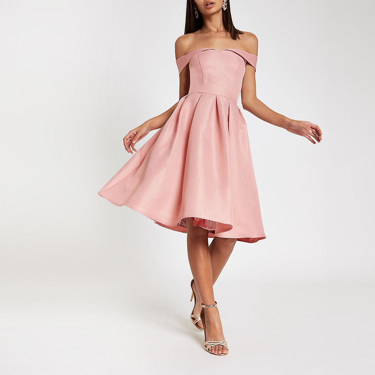 Chi Chi London pink bardot neck prom dress Catherineus Wedding