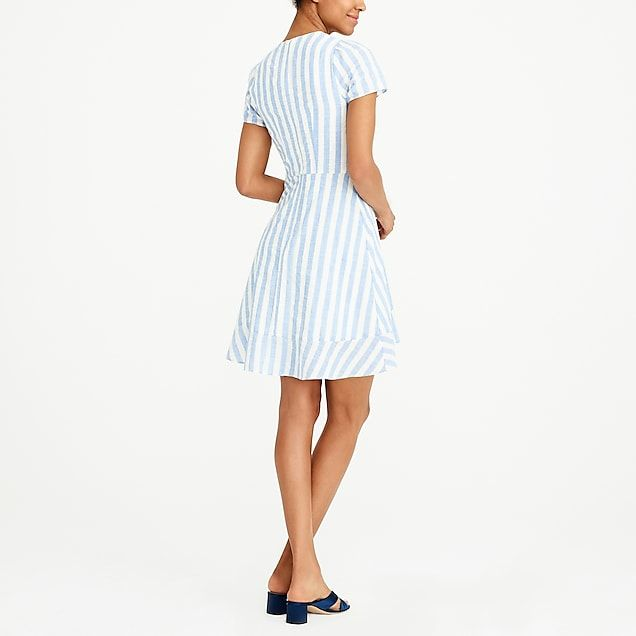 a05dbf81ed6 J.Crew Striped faux-wrap dress in 2019 | Things People Should ...