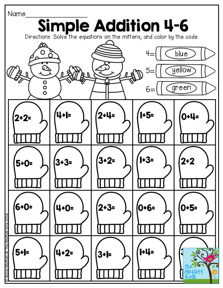 Simple Addition 4-6. The NO PREP Packets for January make learning ...