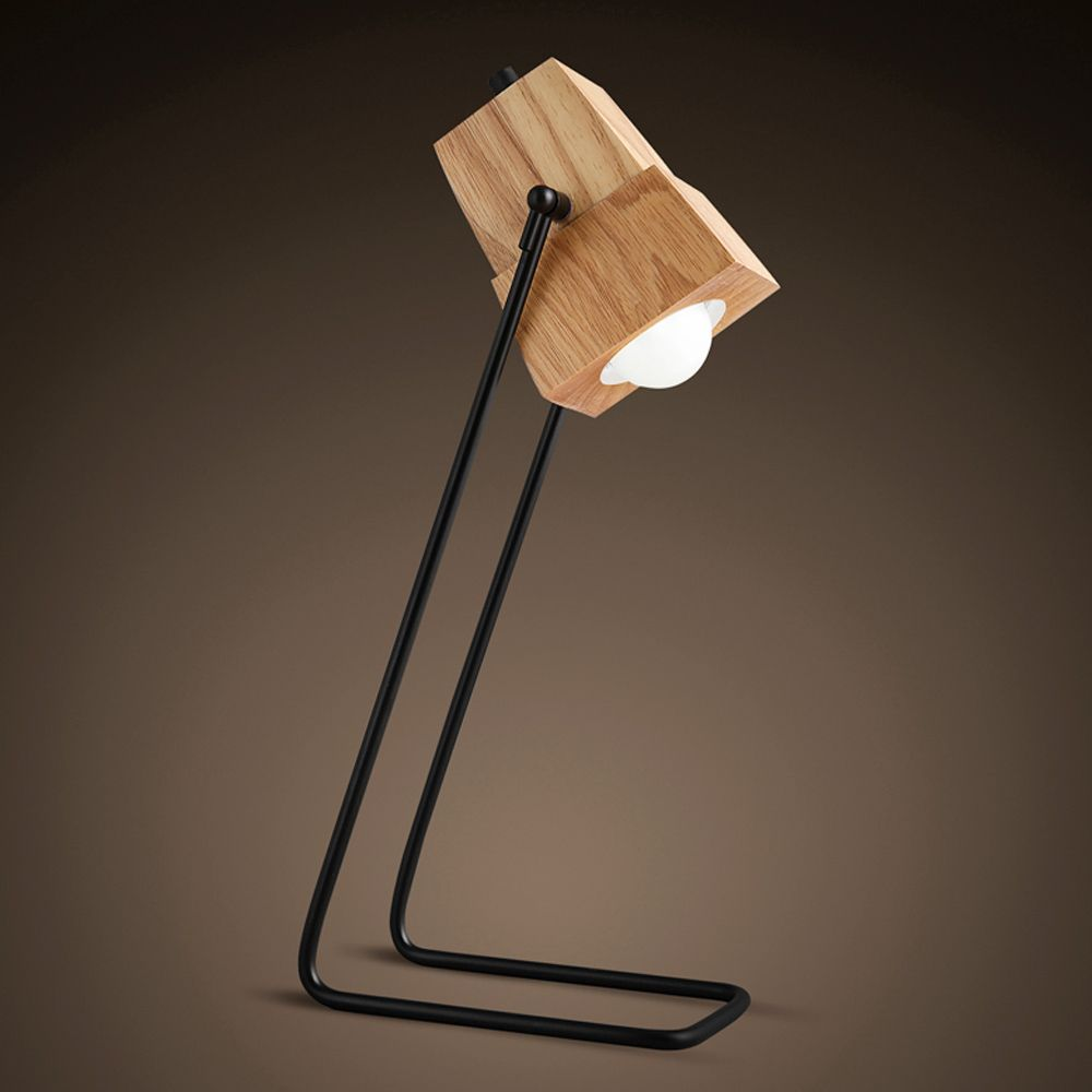 Brief DIY Assembles Wooden Desk Lamp Table Light Iron Holder With  Ventilation Holes Bar Cafe Decor