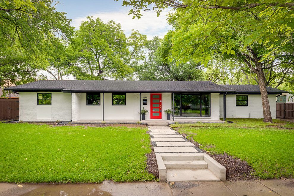Painted Brick Ranch Exterior Midcentury With Curb Appeal Mount