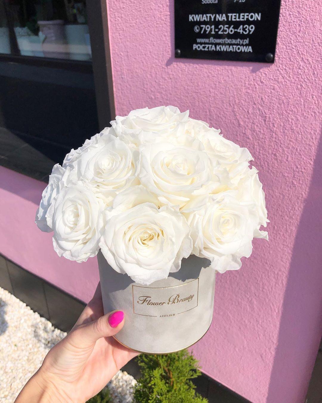 Dzisiejsza Realizacja Biale Wieczne Roze W Szarym Zamszowym Pudelku Flowers Flower Flowerbeauty Flowerstore Flowerstagram Kwiaty Kwiatywpud Desserts
