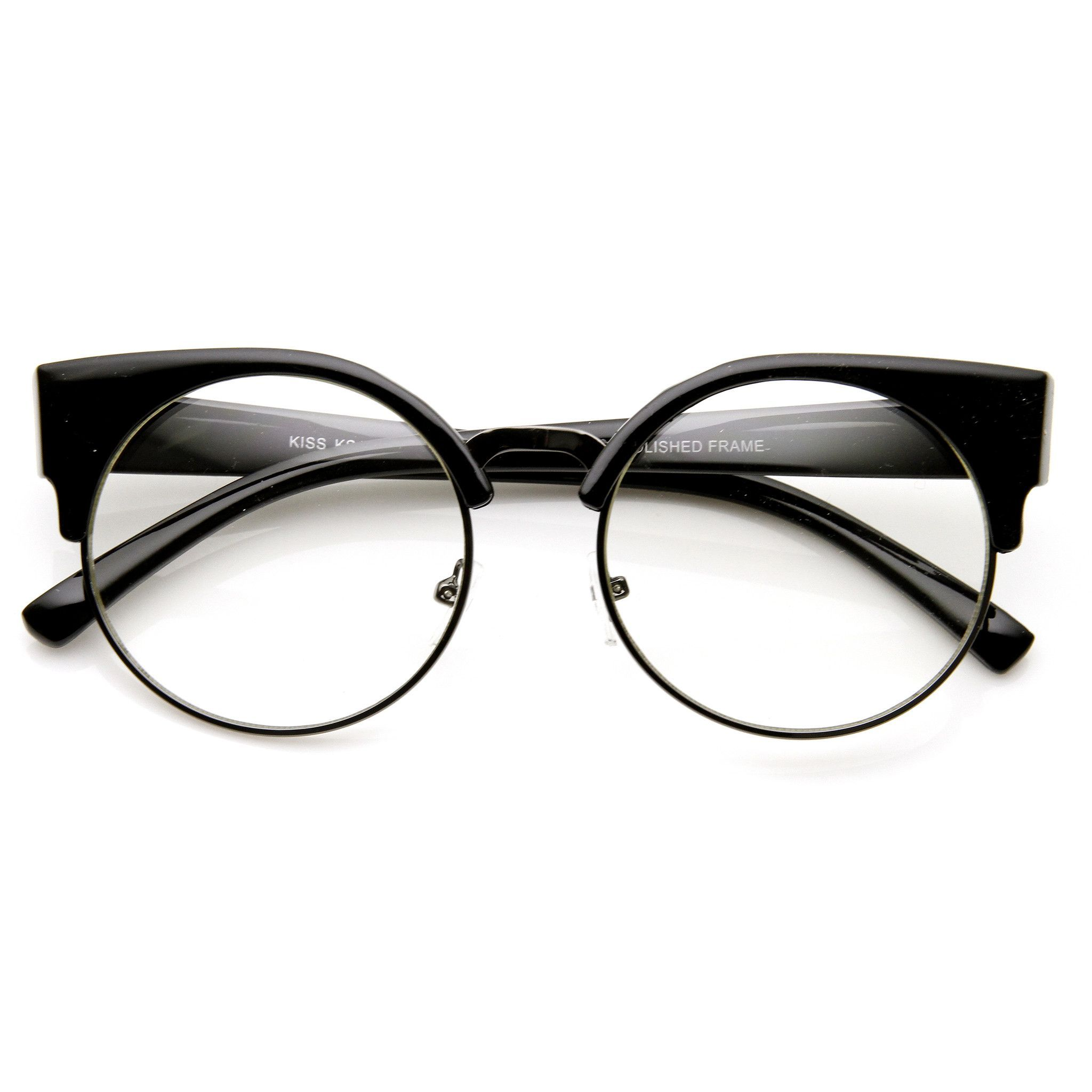 b06744370a Indie Hipster Round Cat Eye Clear Lens Half Frame Glasses 9351 ...