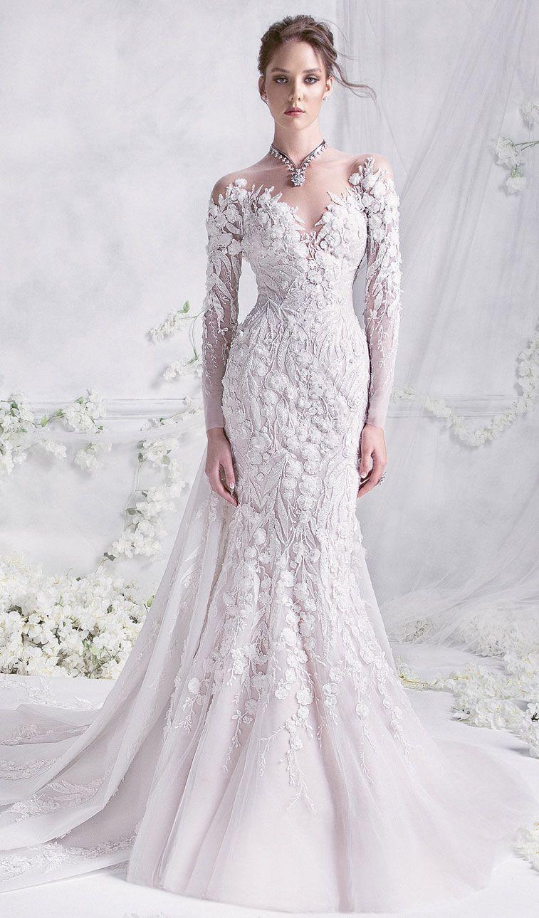 Rami Al Ali 2018 Wedding Dresses Bridal Long Sleeves Illusion Sweetheart Neckline Fit And