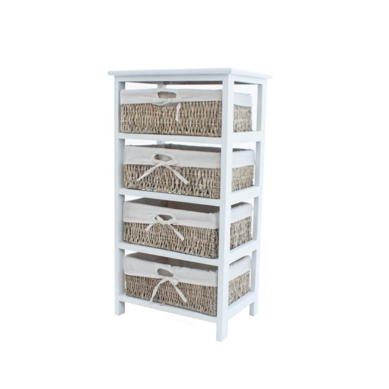 Mueble organizador con 4 cajones de rattan forrados en for Organizador para bano