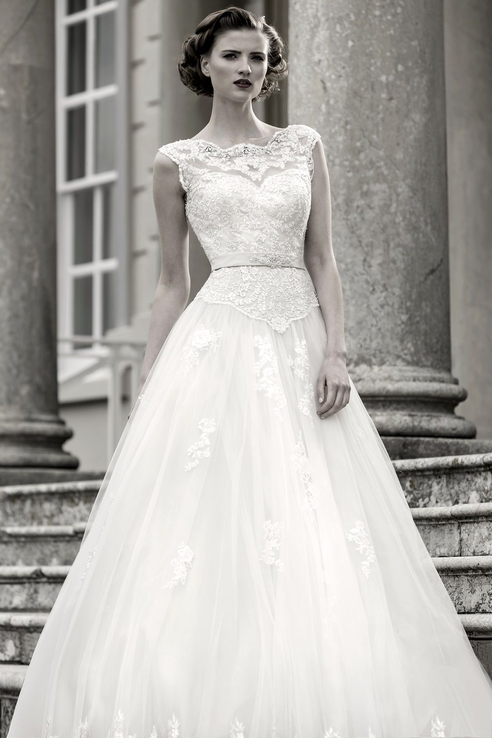 Wedding dresses fifties style  Blossom  Stunning full length bridal gown with lace bodice and