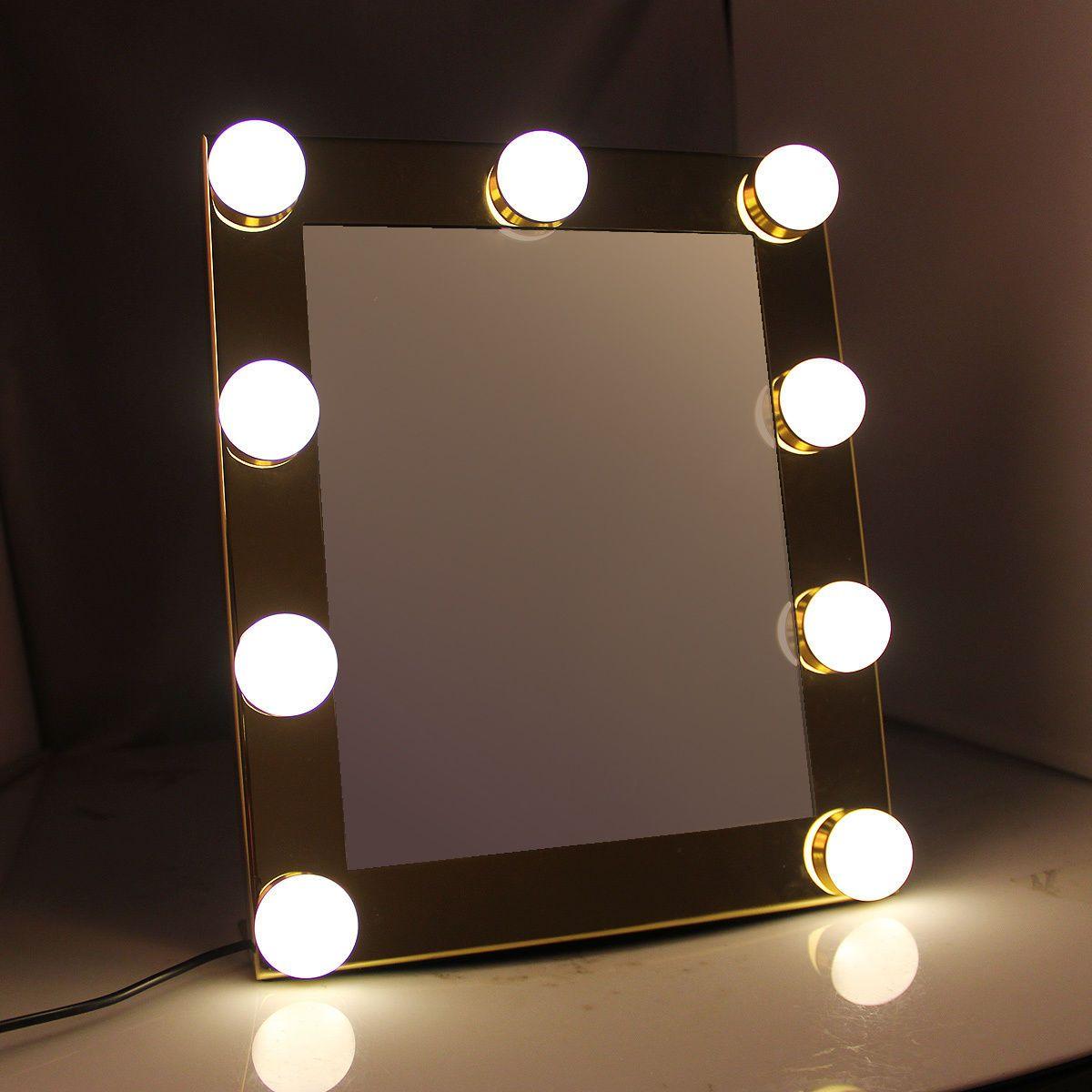 vanite plateaux de maquillage eclaire miroir avec 9 led ampoule lumieres tactile stade ecran beaute miroir cosmetique reglable outil 2017