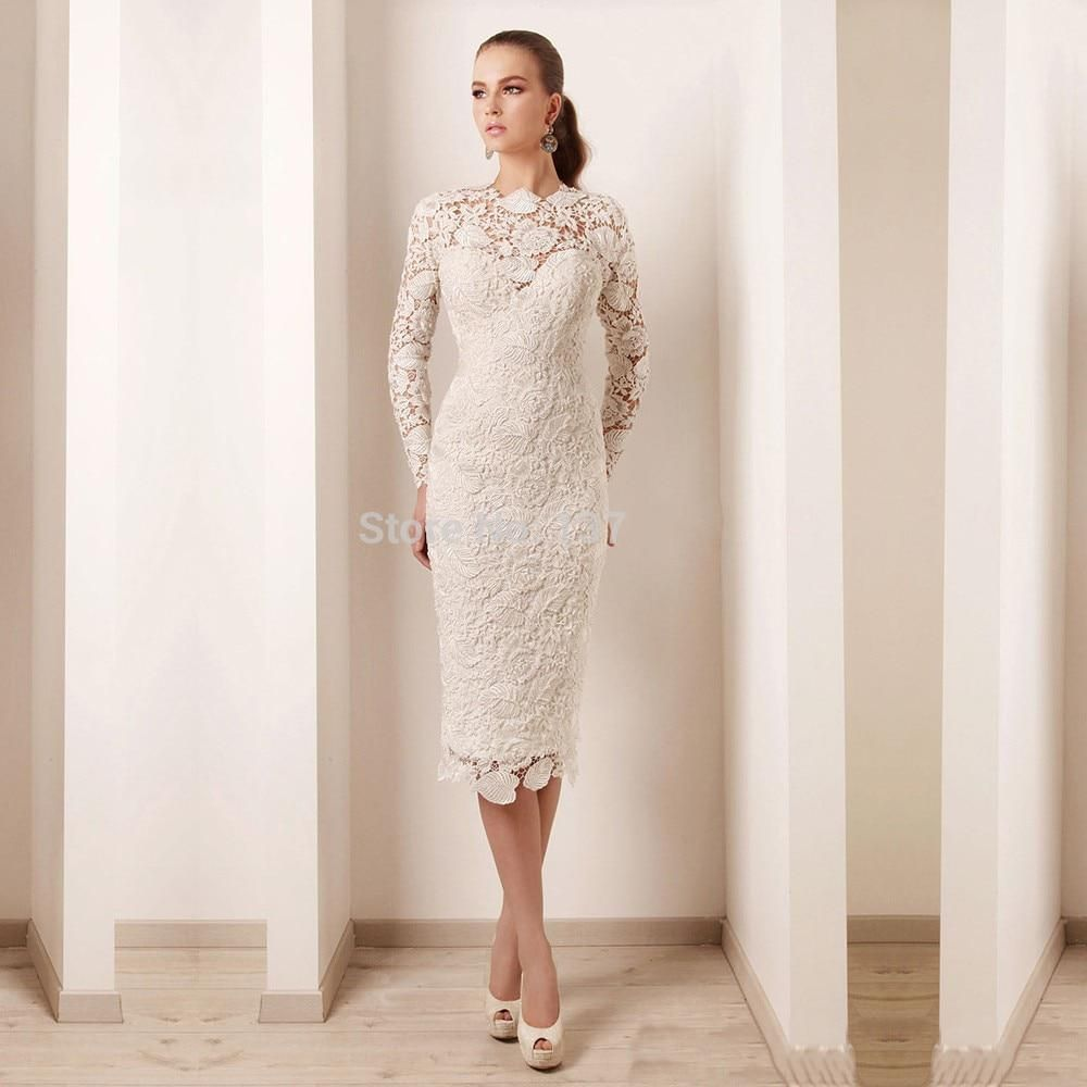 db4bb056a3b Elegant Long Sleeve High Neck Pearls Lace Short Mother Party Evening Dress  Knee Length Mother Of