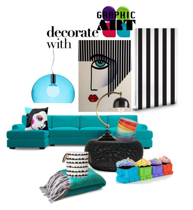 """Graphic Art"" by kari-c ❤ liked on Polyvore featuring interior, interiors, interior design, home, home decor, interior decorating, Joybird Furniture, Kartell, Progressive International and Aesthetic Content"